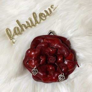 Brighton red leather  flower coin chain crossbody